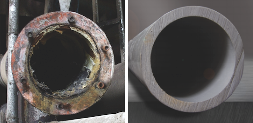 metal pipe and corzan cpvc pipe after use